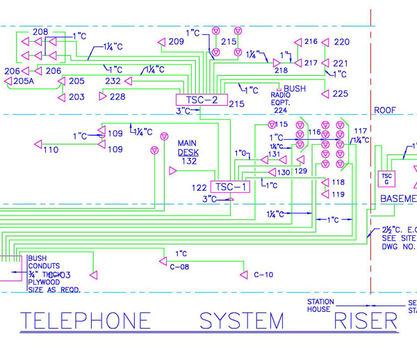 Electrical Plans for Telephone System Riser